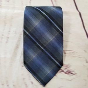 Kenneth Cole Reaction Neck Tie Black Blue Plaid
